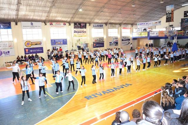 Encuentro de aeróbic en el Polideportivo de Rivadavia