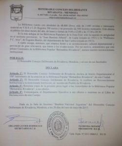 Resolución Concejo Deliberante Biblioteca Popular Bernardino Rivadavia