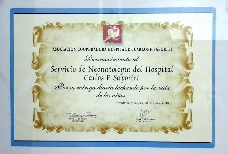Fue reconocido el Servicio de Neonatología del Hospital Saporiti