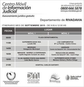 RIVADAVIA cronograma Centro Movil Judicial