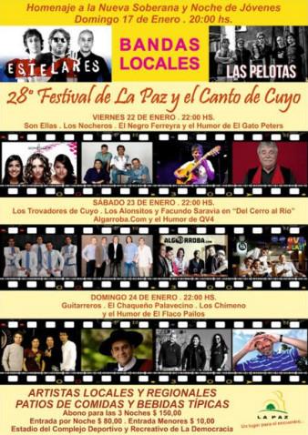 Artistas confirmados para la 28º edición del Festival de La Paz y el Canto de Cuyo