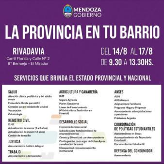 El programa la provincia en tu barrio estará en Rivadavia