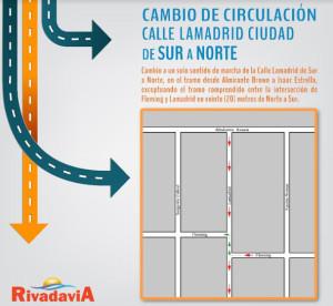 Cambio de sentido de circulación de calle Lamadrid