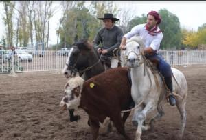 Prueba de paleteadas en el predio de la agrupación gaucha cultural Junín